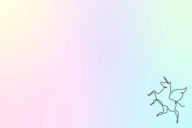 미적 홀로그램 배경, 라인 아트 유니콘 디자인 벡터