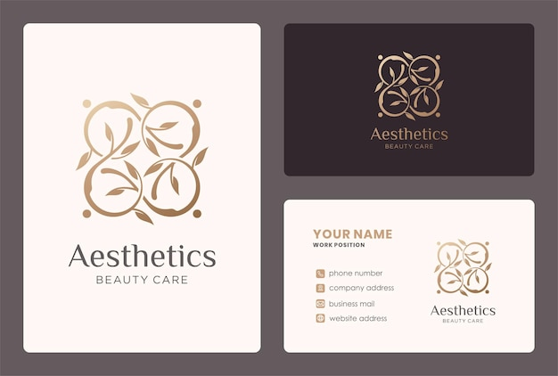 Aesthetic logo with leaf branch element and business card design.