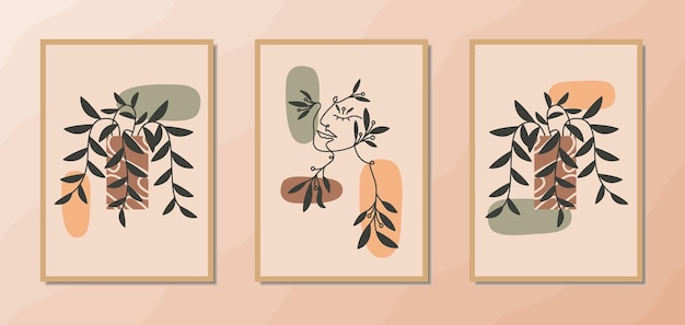 Эстетические современные настенные художественные плакаты середины века с портретом женщины и цветочным декором