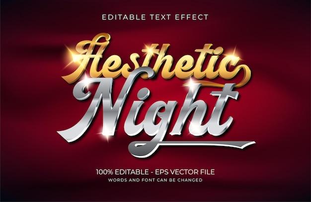 Эстетический текстовый эффект ночи premium векторы