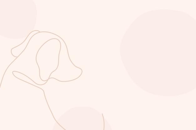 Эстетический розовый фон, вектор дизайна собаки линии искусства