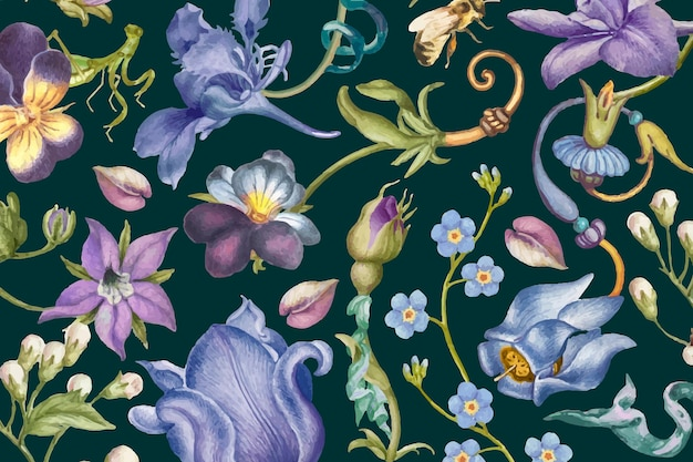 Aesthetic purple floral pattern vector on dark background, remixed from artworks by pierre-joseph redouté