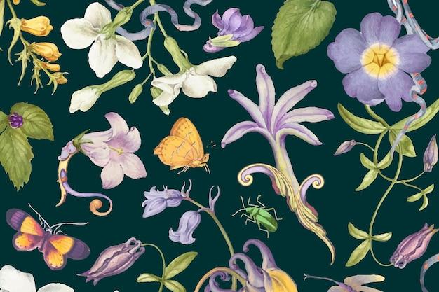 Pierre-joseph redouté의 작품에서 리믹스된 어두운 배경의 미적 보라색 꽃 패턴 벡터