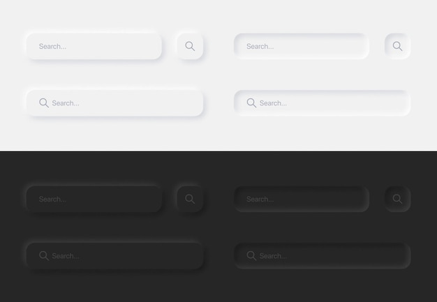 Aesthetic search bars in white and black variations ui neumorphic design elements set