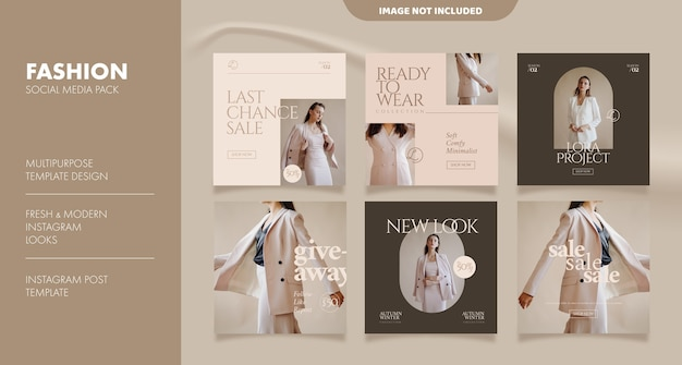 Aesthetic social media feed post template for fashion business