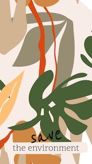 Modello estetico di storia dei social media, design botanico modificabile, salva il vettore dell'ambiente