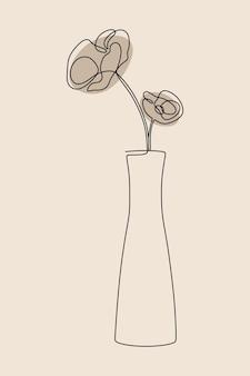 美的な花瓶の花植物のワンライン連続線画