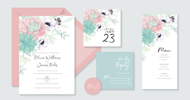 Aesthetics wedding invitation template with beautiful succulents