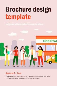 Affable medical team staff standing in clinic yard isolated flat  illustration. cartoon group of doctors and pharmacists near hospital building. medicine and health concept
