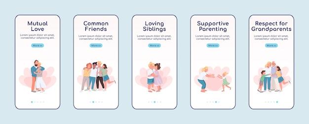 愛情オンボーディングモバイルアプリ画面フラットテンプレート。両思い。親友。文字を使用したウォークスルーwebサイトの手順。 ux、ui、guiスマートフォン漫画インターフェース、ケースプリントセット