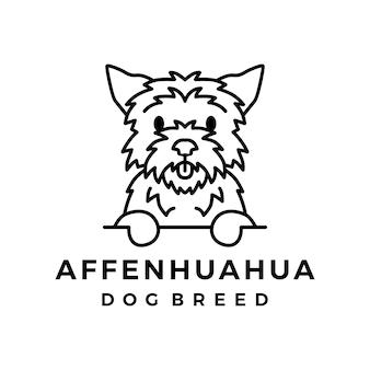 Значок логотипа монолинии собаки аффенхуахуа