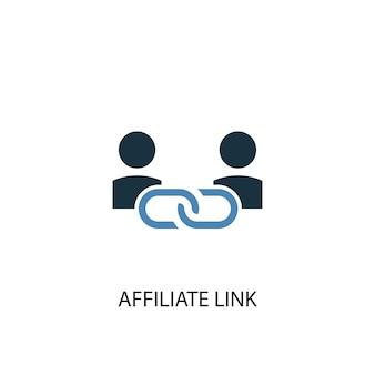 Партнерская ссылка концепция 2 цветных значка. простой синий элемент иллюстрации. партнерская ссылка дизайн концепции символа. может использоваться для веб- и мобильных ui / ux