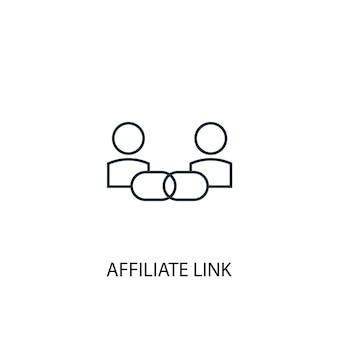 アフィリエイトリンクのコンセプトラインアイコン。シンプルな要素のイラスト。アフィリエイトリンクコンセプトアウトラインシンボルデザイン。 webおよびモバイルui / uxに使用できます