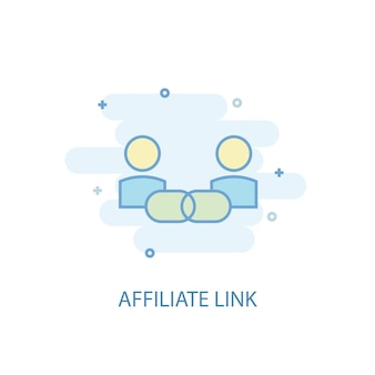 Концепция линии партнерской ссылки. значок простой линии, цветные рисунки. партнерская ссылка символ плоский дизайн. может использоваться для ui / ux