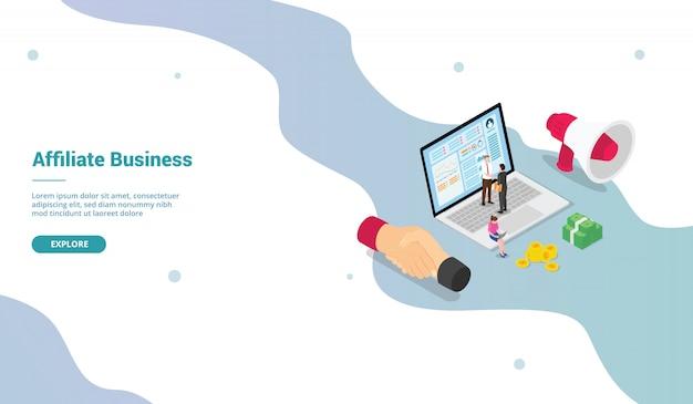 ウェブサイトのランディングホームページテンプレートのモダンなアイソメ図スタイルでのアフィリエイトマーケティングビジネスの利益-