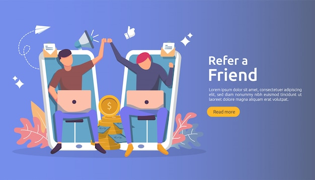 Affiliate marketing concept. refer a friend strategy. people character shout megaphone sharing referral business partnership and earn money.
