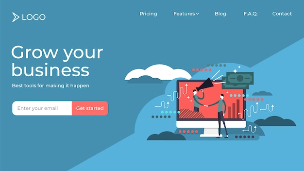 Affiliate marketing flat tiny persons vector illustration landing page template design