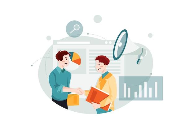 Партнерская маркетинговая концепция иллюстрации