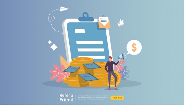 Affiliate marketing . refer a friend strategy. people character shout megaphone sharing referral business partnership and earn money.