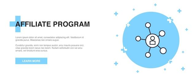 Значок партнерской программы, концепция шаблона контура баннера. дизайн иллюстрации линии партнерской программы