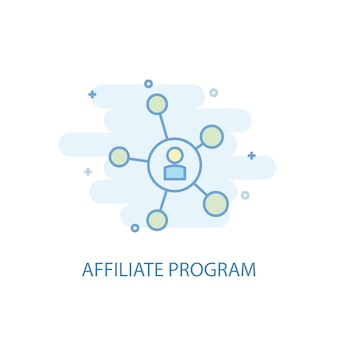 Affiliate program line concept. simple line icon, colored illustration. affiliate program symbol flat design. can be used for ui/ux