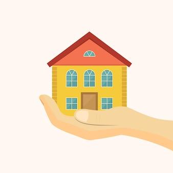 手ごろな価格の住宅アイコン。手に家ベクトルイラスト。