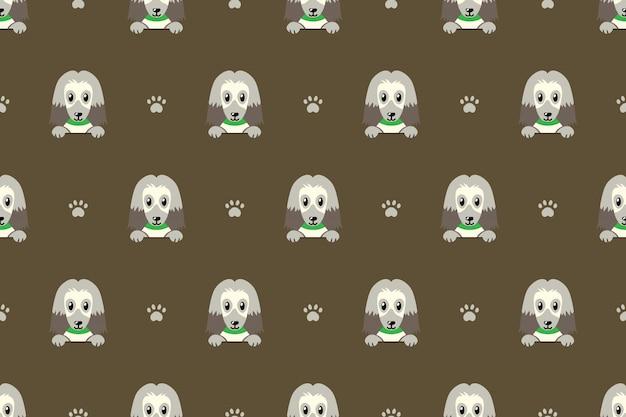 Afghan hound dog seamless pattern background