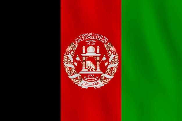 Флаг афганистана с развевающимся эффектом, официальная пропорция.