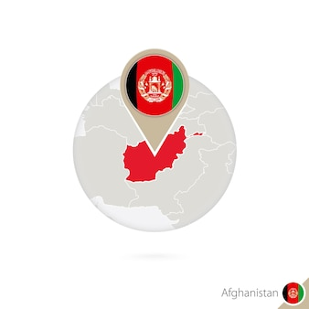 Карта афганистана и флаг в круге. карта афганистана, булавка флага афганистана. карта афганистана в стиле земного шара. векторные иллюстрации.