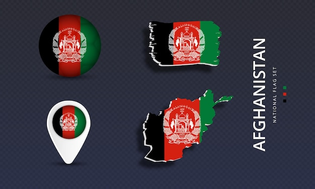 Afghanistan national country wave flag set