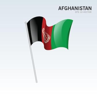 회색에 고립 된 아프가니스탄 흔들며 깃발