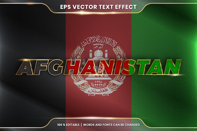 Afghanistan with its national country flag, editable text effect style with gradient gold color concept