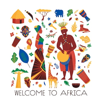 편집 가능한 텍스트와 동물의 격리된 아이콘이 있는 아프리카 구성은 이국적인 식물과 아프리카 사람들의 삽화를 가립니다.