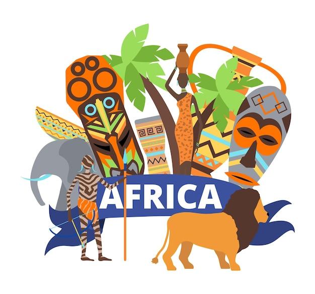 アフリカの概念、ベクトルイラスト。アフリカの民族旅行のデザイン、部族のマスク、自然のヤシ、動物のライオンの伝統文化。白いバナーで隔離の服を着た女性男性の人々のキャラクター。