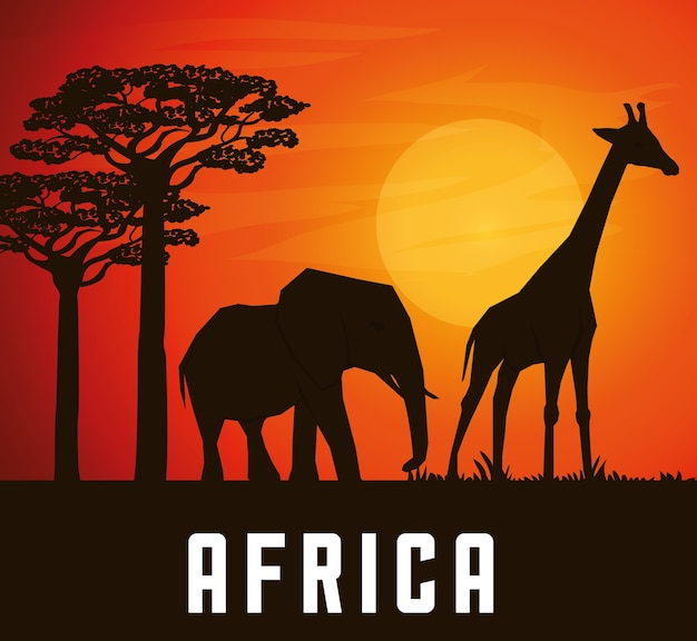 Africa concept with icon design