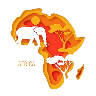 Africa. decorative 3d paper cut map of africa continent with elephant silhouette