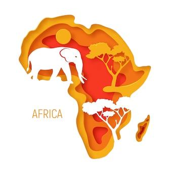 アフリカ。象のシルエットとアフリカ大陸の装飾的な3 dペーパーカットマップ