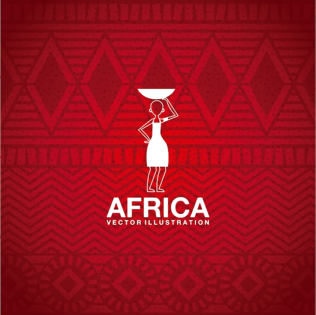 Africa design over  red background vector illustration