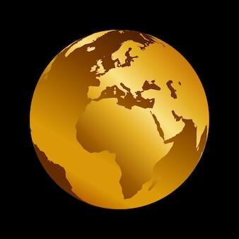 아프리카 황금 3d 금속 행성 배경 보기입니다. 검은 배경에 세계 지도 벡터 일러스트입니다.