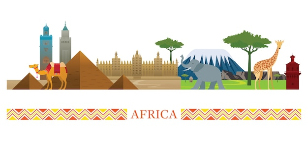 Africa landmarks illustration