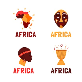 Коллекция шаблонов логотипов африки