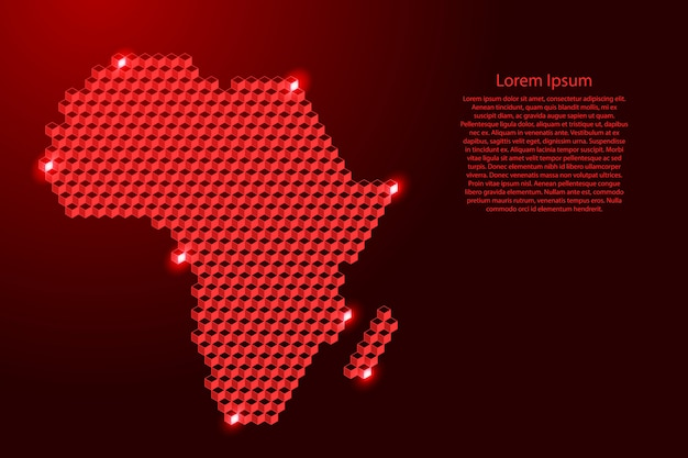 Africa mainland map from 3d red cubes isometric abstract , square pattern, angular geometric shape, for banner, poster.  illustration.