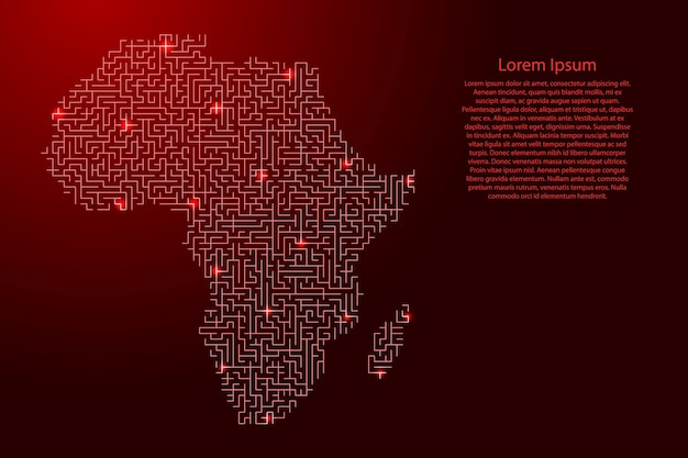 Africa mainland map from red pattern of the maze grid and glowing space stars grid.