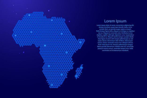 Africa map abstract schematic on blue