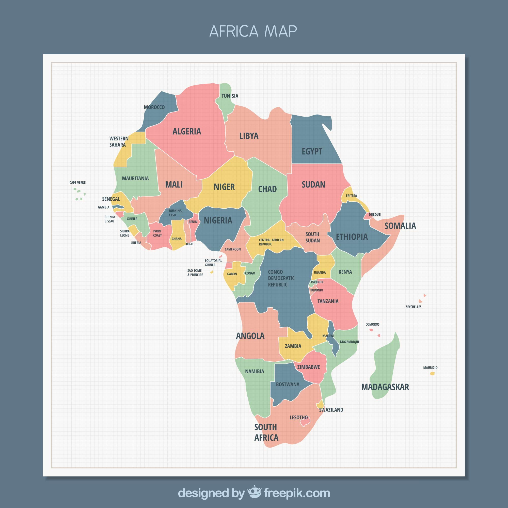 Africa map background in flat style
