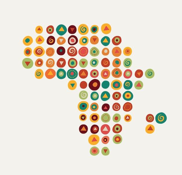 アフリカ-部族のパターンの地図イラスト