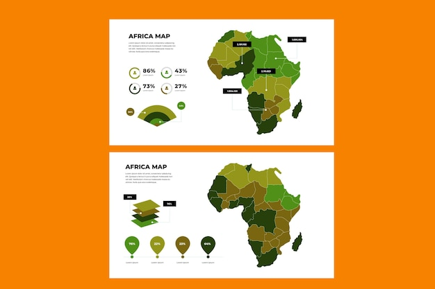 Africa map infographic in flat design