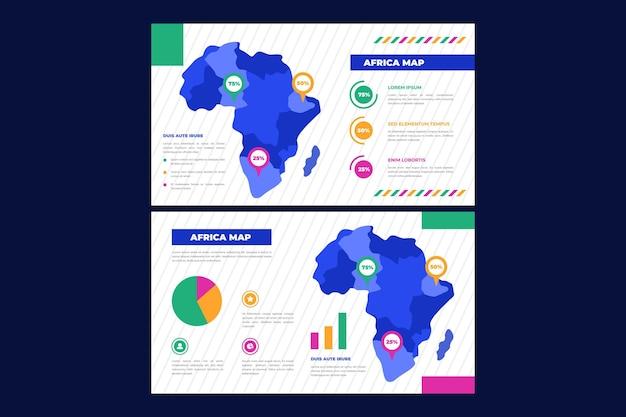Инфографика карта африки в плоском дизайне