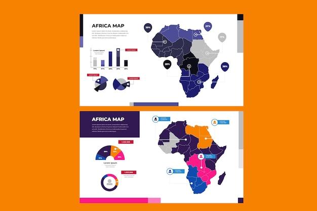 フラットなデザインのアフリカ地図インフォグラフィック