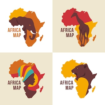 Africa map logo collection